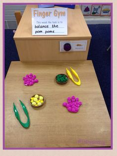 Finger Gym - pom poms and bath mats. (Inspired by Your Therapy Source) This is such a wonderful idea! Setting up a center like this in the classroom to address fine motor skills. Love the name and simplicity of it! Preschool Fine Motor Skills, Motor Skills Activities, Gross Motor Skills, Preschool Learning, Sensory Activities, Teaching, Toddler Learning, Preschool Ideas, Learning Activities