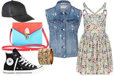 If a sundress feels a bit too girly for you, go tomboy chic with a pair of Chuck Taylors and a denim vest. This outfit will do you right whether you're hitting the Do Division Fest or alfresco brunching.