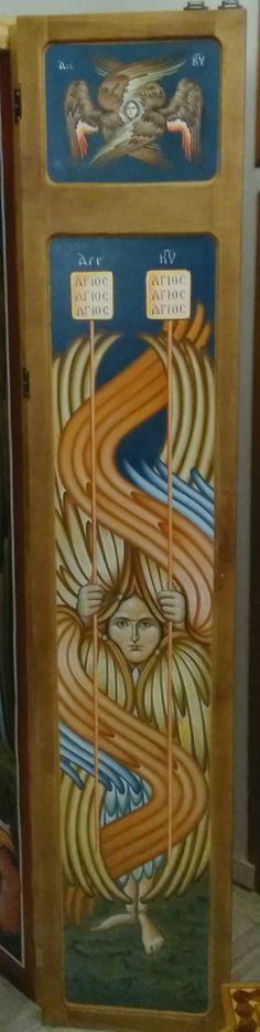 """ Serafim six winged angels "", icons on wood, entry door. Thessaloniki, Greece By Ioannis K. Georgiadis"