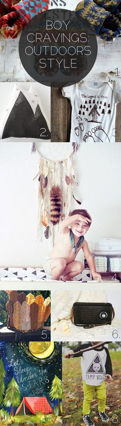 Little Boy Cravings: Outdoors Edition. Scout Moccasins, Dream Catcher, Mountain Pillow, Sasquatch Onesie, Indian Headdress, Vintage Radio, Katie Daisy Stars Print and Camp Wolf Baseball Tee.