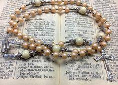 Rosary Our Lady of Fatima 100th apparition anniversary handmade catholic rosary beads  by Rosenkranz-Atelier prayer beads catholic jewelry by RosenkranzAtelier on Etsy