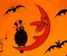 Half Moon Man/Owl/Bats Closeup--Vintage Halloween Crepe Paper