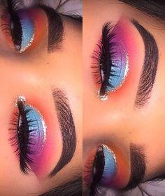 Augen Make-up-Ideen: ριntєrєѕt: @ αlrєadуtαkєnxσ - Ellise M. Augen Make-up-Ideen: ριntєrєѕt: @ αlrєadуtαkєnxσ - Eye Makeup Blue, Makeup Eye Looks, Colorful Eye Makeup, Cute Makeup, Gorgeous Makeup, Skin Makeup, Eyeshadow Makeup, Purple Eyeshadow, Creamy Eyeshadow