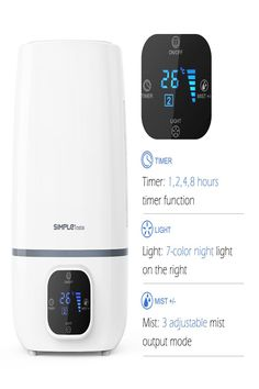 SimpleTaste 4L(1.06 Gallon) Ultrasonic Cool Mist Humidifier Aroma Essential Oil Diffuser with LCD Display, 3 Mist Level Control , Timer Setting, and 7 Colors LED Light Whisper-Quiet