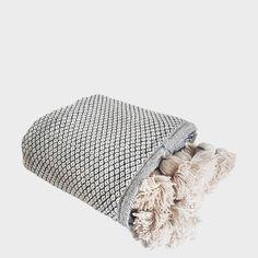 White Diamond Pom Pom Blanket