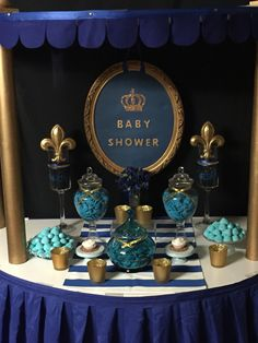 Baby shower- little prince navy blue and gold perfect Colour for boys PARTY or baby shower