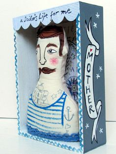 Boxed Sailor Art Doll Hanging by samanthastasdesigns on Etsy