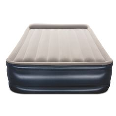 Featuring a comfortable flocked sleeping surface, the Queen size air bed provides a smooth and comfy sleep each and every night. Combined with a sturdy coil-beam construction and built-in electric pump, this quality air bed is suitable for both indoor and outdoor use. #airbed #inflatablemattress #queenmattress