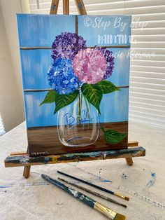Hydrangea Painting - Step By Step Painting Hydrangea Painting, Acrylic Painting Flowers, Oil Painting Abstract, Diy Painting, Painting Tutorials, Basic Painting, Beginner Painting, Watercolor Painting, Mini Canvas Art