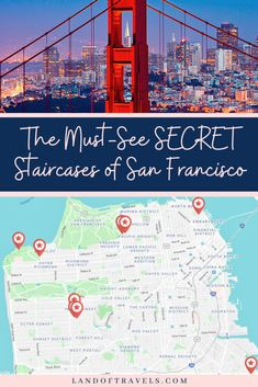 Venture off-the-beaten-path with this travel guide and discover the must-see hidden staircases of San Francisco - a unique hallmark of this spectacular city. #sanfrancisco #usa #travel #california #mosaicsteps #hiddenstairs #thingstodo #sfitinerary #pacificcoast #offthebeatenpath #travelguide #landoftravels #cityguide #secretstairsofsanfrancisco #moragasteps #16avenuesteps #lyonsteps #hiddengardensteps #grandviewpark #lincolnpark #bakerstreet #flightsoffancy #landsend Travel Guides, Travel Tips, Travel Info, Places To Travel, Travel Destinations, Holiday Destinations, California Travel, California Destinations, United States Travel