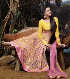 Naksh - Irresistible Yellow and Baby pink Anarkali Suit