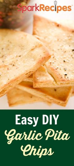 Garlic Pita Chips Recipe via @SparkPeople (I served this with hummus and leftover gyro ingredients. Very yummy!!)