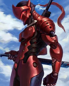 Genji looks way better in red. Game Character Design, Character Art, Boruto, Overwatch Fan Art, Overwatch Genji Skins, Genji Shimada, Overwatch Wallpapers, Ninja Art, Futuristic Armour