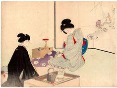 Lot 00173 N.1 ukiyo-e woodblock print Mizuno Toshikata DESIRE AND DESIRE Year: 1900 Condition: excellent Size: 30 x 22 cm