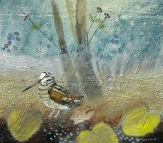 Waterlily Woodcock. Mixed Media. 25x29cms. Ingeborg Smith. £420 Artist Profile, Water Lilies, Mixed Media, Doodles, Birds, Pets, Gallery, Painting, Animals