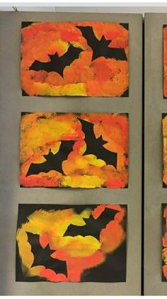 Halloween No web link but cut out bat shapes stick to black paper then paint with oranges Kunstunterricht bat Black cut Halloween kunstunterricht november link oranges paint Paper Shapes stick web Halloween Art Projects, Theme Halloween, Fall Art Projects, Halloween Crafts For Toddlers, Fall Crafts For Kids, Toddler Crafts, Halloween Kids, Halloween Crafts For Kindergarten, Autumn Art Ideas For Kids