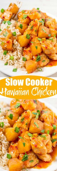 Slow Cooker Hawaiian Chicken with Pineapple - Tender chicken with lots of pineapple makes you feel like you're eating dinner on a Hawaiian vacation without leaving home! Ridiculously easy, packed with flavor, and a hit with everyone! Crock Pot Slow Cooker, Crock Pot Cooking, Slow Cooker Recipes, Crockpot Recipes, Chicken Recipes, Cooking Recipes, Dinner Crockpot, Chicken Breast Recipes Slow Cooker, The Best
