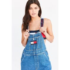 Tommy Jeans For UO '90s Dungaree Overall (€92) ❤ liked on Polyvore featuring jumpsuits, blue jumpsuit, dungaree overalls, blue bib overalls, tommy hilfiger and blue overalls
