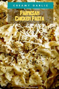 Best & healthy recipes of Instant Pot Creamy Garlic Parmesan Chicken Pasta Easy Healthy Pasta Recipes, Pasta Recipes For Kids, Creamy Pasta Recipes, Pasta Ideas, Healthy Chicken Pasta, Vegetarian Pasta Recipes, Pasta Dinner Recipes, Chicken Zucchini, Yummy Pasta Recipes
