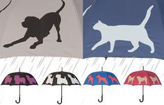 If It's Hip, It's Here: Eleven Dogs and One Cat To Keep You Dry. Colorful Pet Silhouette Umbrellas.