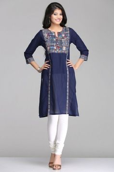 Abstract Dark Blue Straight Cotton Kurta By Farida Gupta