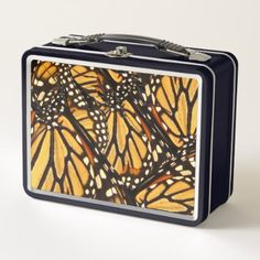 Monarch Butterfly Abstract Pattern Metal Lunch Box - black gifts unique cool diy customize personalize