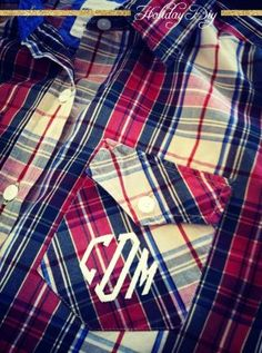 Holiday diy: his + hers Monogrammed button-ups by Camille DiPaola on Lucky Community