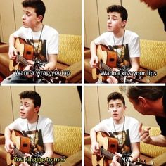 Shawn Mendes- haha :) he looks so scared! Lol<<< that guy he is talking to is Nash Grier's dad❤️