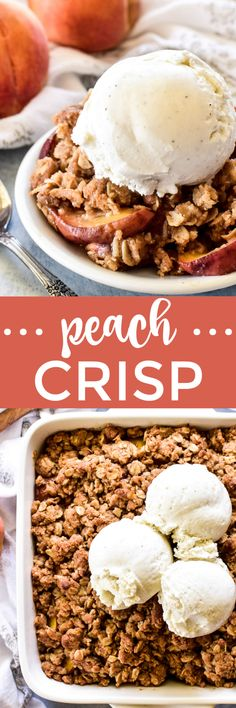 Nothing says summer like fresh peaches, and this Peach Crisp is the BEST. Made with sweet ripe peaches and the most delicious brown sugar topping, it's the ultimate summer dessert... and couldn't be easier to make! Easy No Bake Desserts, Homemade Desserts, Best Dessert Recipes, Desert Recipes, Easy Desserts, Delicious Desserts, Recipes Dinner, Breakfast Recipes, Sweets Recipes