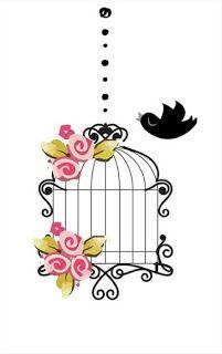 Imagens para adesivos - Arabescos e gaiola