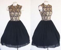 JO JR DALLAS 50s 60s Party Dress Vtg Black Chiffon Brocade Dress XS to S #JoJrdallas #50sNewLook #Clubwear