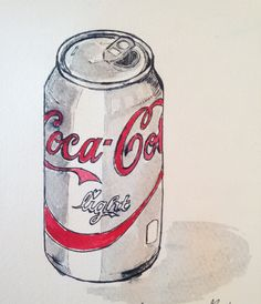My illustration // coca cola light// penandink // watercolours