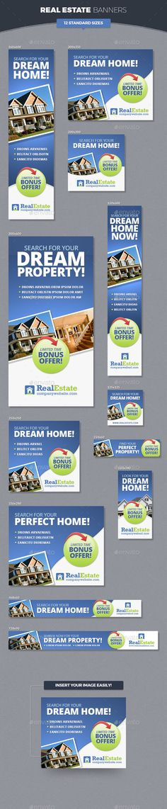 Real Estate Banner Ads Tempalte #design Download: http://graphicriver.net/item/real-estate-banner-ads/11453206?ref=ksioks