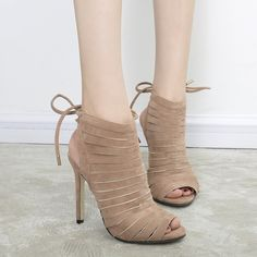 Lace Up Belt Splicing Peep Toe Sandals