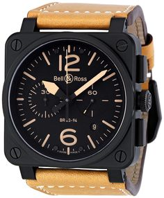 Bell and Ross Instrument Heritage Black Dial Chronograph Automatic 42MM Mens Watch BR-03-94-HERITAGE $4120.00 #BellRoss #LuxuryWatch