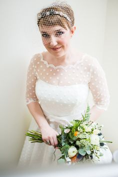 Candy Anthony Dress Gown Bride Bridal Polka Dot Bow Short Eclectic Quirky Green Barn Wedding http://www.tatumreid.com/