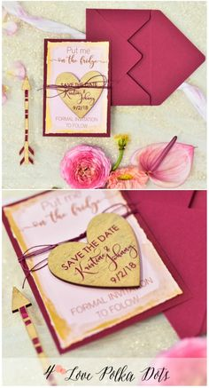Please Save the Date ! Boho wedding card with wooden magnet #wedding #savethedate #bohemian #pink #gold #unique #arrow #boho