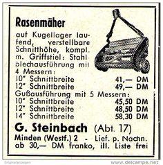 Original-Werbung/ Anzeige 1959 - RASENMÄHER / STEINBACH - MINDEN - ca. 45 x 45 mm