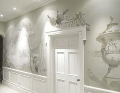 I have always loved Grisaille painted murals. Grisaille is a monochrome painting using shades of gray or (sometimes brown). Grisaille was us. Mural Painting, Mural Art, Wall Murals, Wall Art Designs, Wall Design, Interior Paint, Interior Decorating, Monochrome Painting, Grisaille