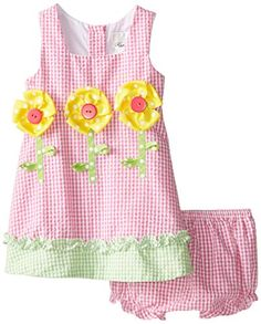 Rare Editions Baby Baby Girls Seersucker Dress with Flower Applique with Panty FuchsiaWhite 24 Months >>> Check out this great product.