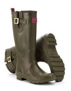 Joules Womens Matt Rain Boot, Olive.                     A must for wet weather, our new Rain Boots are perfect for mucking out and mucking about. If your feet need puddle proofing, look no further.