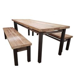 Standford Industrial Reclaimed Wood Extending Dining Table - Solid reclaimed wood dining table