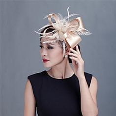 Women+Wedding/Party+Satin+Fascinator+with+Feathers+1990+–+USD+$+40.00