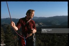Folk-rock singer Stephen Stills rock climbs with harness. Stills became well-known in Buffalo Springfield, then moved on to Crosby, Stills, and Nash. CSN collaborated with Neil Young occasionally, and racked up many hits in the sixties and seventies.