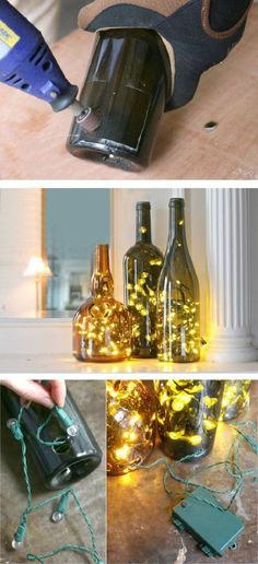Display Christmas lights in a whole new, non-traditional way this year – in wine bottles! An LED light string can transform the wine bottle display into a lasting and useful memento! Display Christmas lights in a Wine Bottle Display, Wine Bottle Art, Bottle Bottle, Vodka Bottle, Empty Wine Bottles, Lighted Wine Bottles, Recycled Bottles, Decorating With Wine Bottles, Wine Bottles Decor