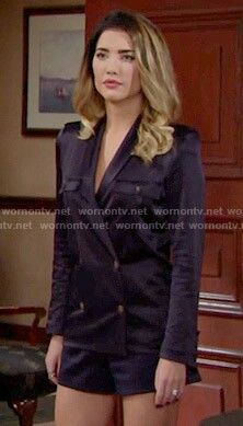 Steffy Jacqueline Macinnes Wood, The Kooples, Bold And The Beautiful, Satin Top, Be Bold, Double Breasted, Navy Blue, Leather Jacket, Blazer