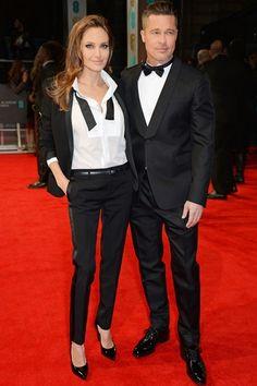 Angelina Jolie & Brad Pitt|アンジェリーナ・ジョリー&ブラッド・ピットロンドンでおこなわれた「BRITISH ACADEMY FILM AWARDS 2014」にて、女優のアンジェリーナ・ジョリーがサンローランのカスタムメイド タキシードを着こなし、ダンディな姿で登場。パートナーのブラッド・ピットとペアルックがスウィート!COURTESY OF SAINT LAURENT