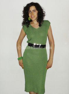 Sleeveless Three-Quarter-Length Dress Machine Knitting Pattern