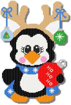 Everything Plastic Canvas - Holiday Penguin Reindeer Plastic Canvas Ornaments, Plastic Canvas Crafts, Free Plastic Canvas Patterns, Canvas Door Hanger, Christmas Wall Hangings, Penguin Craft, Plastic Canvas Christmas, Needlepoint Patterns, Canvas Designs