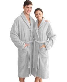 Linum Home Unisex Herringbone Weave Bathrobe - Gray Home Textile 8c687fd0a
